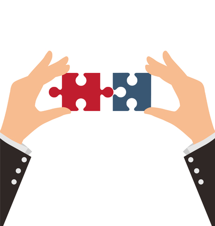 combining: Two Business Hands combining two pieces of puzzle, Teamwork Concept Illustration