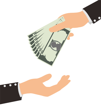 avarice: Business Hand Receiving Money Bill From Another Person, Finance Concept