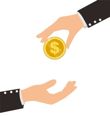 avarice: Business Hand Receiving Coin From Another Person, Finance Concept Illustration