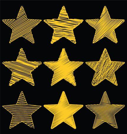 Set Of Hand Drawn Scribble Gold Stars, Icon Vector Design Set 1 Illustration
