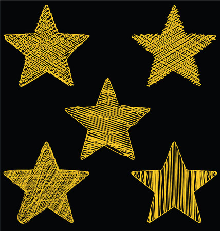 Set Of Hand Drawn Scribble Gold Stars, Icon Vector Design Set 2