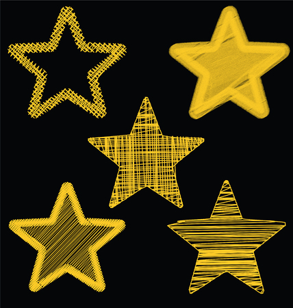 Set Of Hand Drawn Scribble Gold Stars, Icon Vector Design Set 3