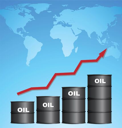 rebound: Increasing Price of Oil With World Map Background, Credit Map by NASA