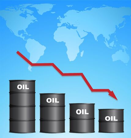 Decreasing Price of Oil With World Map Background, Credit Map by NASA Illustration