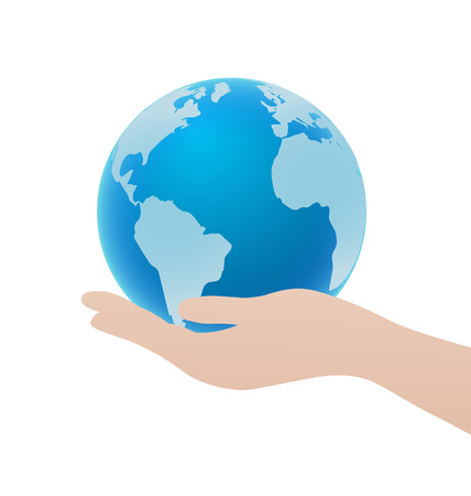 Hand Holding Blue Globe Icon, Save Earth Concept
