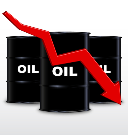Oil Barrels And Red Arrow Chart On White Background, Down Trend