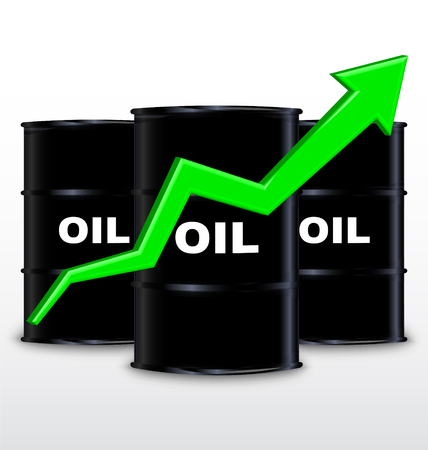 price gain: Oil Barrels And Green Arrow Chart On White Background, Up Trend Illustration