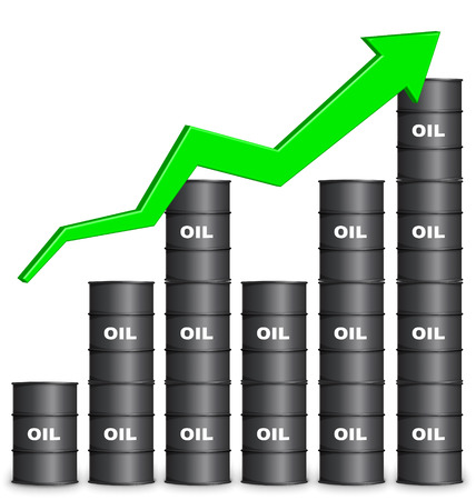 Oil Barrels Arranged In Bar Graph Form On White Background, Up Trend
