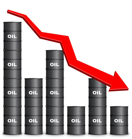 Oil Barrels Arranged In Bar Graph Form On White Background, Down Trend