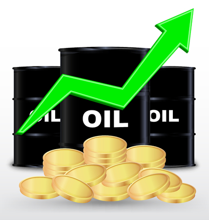 price gain: Oil Barrels And Stack Of Gold Coin On White Background, Price Up Concept