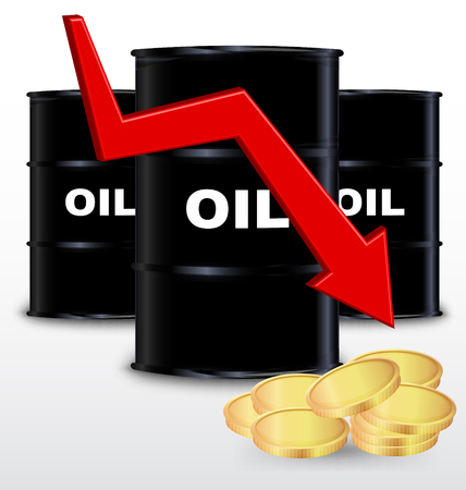 Oil Barrels And Stack Of Gold Coin On White Background, Price Fall Concept