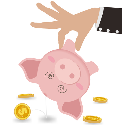 Businessman Taking Money Out of Cute Piggy Bank. Business Concept