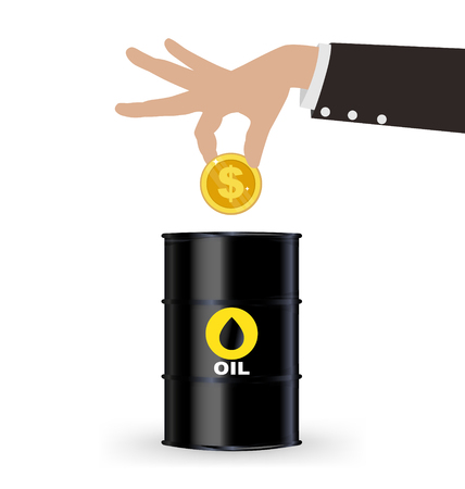 picking up: Business Hand Picking Up Gold Coin Into Oil Barrel, Investment Concept