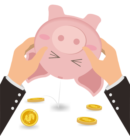shaking out: Businessman Shaking Money Coin Out of Cute Piggy Bank, Business Concept