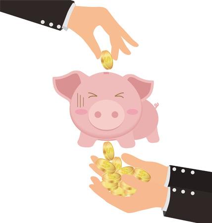 taking risks: Business Hand Putting Gold Coin Into Cute Piggy Bank But Got Stolen Illustration