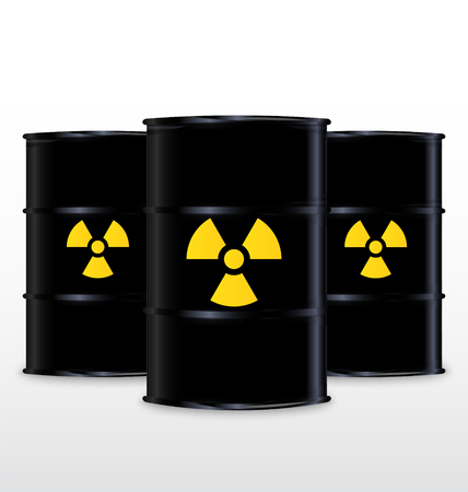 barrels with nuclear waste: Black Barrel With Yellow Radioactive Symbol, Isolated On White Background