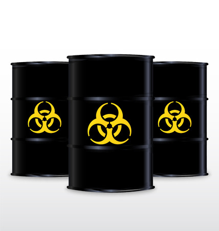 hazardous waste: Black Barrel With Yellow Biohazard Symbol, Isolated On White Background