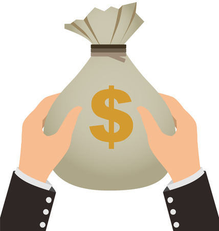 Businessman Holding A Money Bag Isolated On White Background