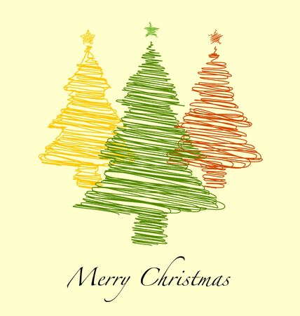Happy New Year, Merry Christmas With Hand drawn Christmas Tree, Greeting Card and Background Illustration