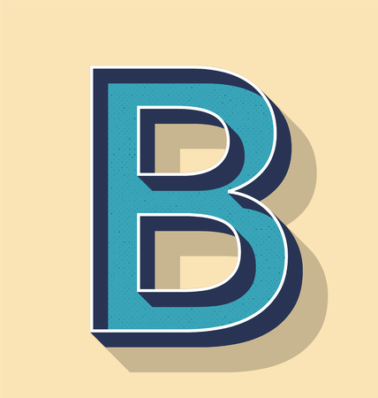 3D Letter B Retro Vector Text Style, Fonts Concept