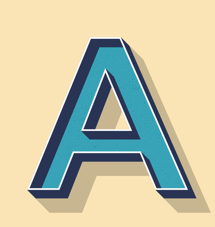 3D Letter A Retro Vector Text Style, Fonts Concept