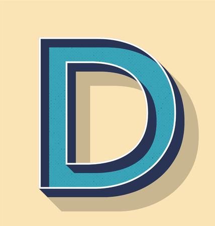3D Letter D Retro Vector Text Style, Fonts Concept Ilustração