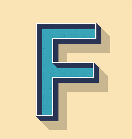 3D Letter F Retro Vector Text Style, Fonts Concept Ilustracja