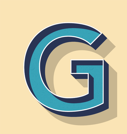 3D Letter G Retro Vector Text Style, Fonts Concept Illustration