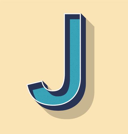 3D Letter J Retro Vector Text Style, Fonts Concept