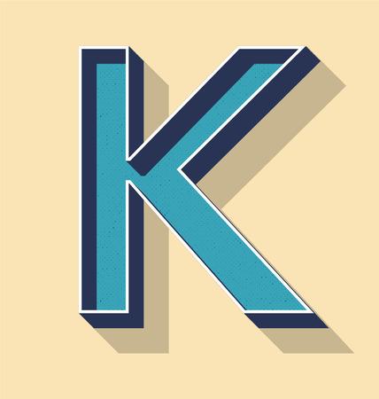 3D Letter K Retro Vector Text Style, Fonts Concept