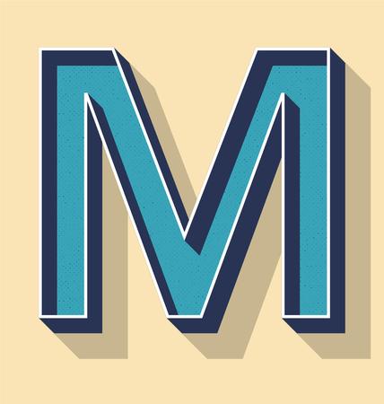 3D Letter M Retro Vector Text Style, Fonts Concept