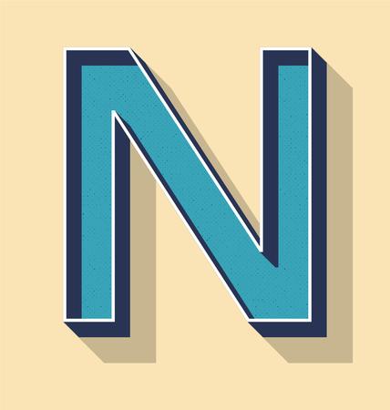 3D Letter N Retro Vector Text Style, Fonts Concept