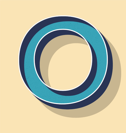 3D Letter O Retro Vector Text Style, Fonts Concept