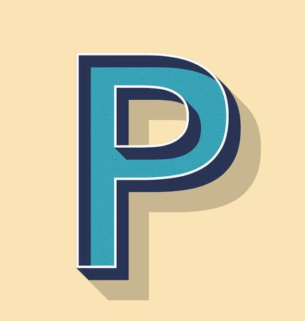 3D Letter P Retro Vector Text Style, Fonts Concept