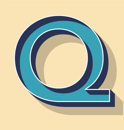 3D Letter Q Retro Vector Text Style, Fonts Concept