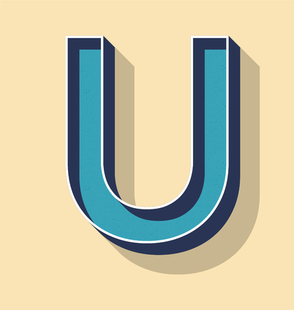 3D Letter U Retro Vector Text Style, Fonts Concept Ilustracja