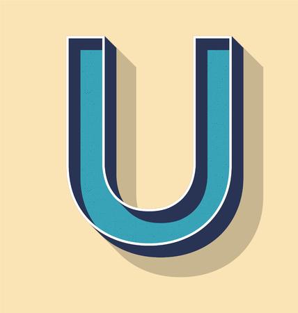 3D Letter U Retro Vector Text Style, Fonts Concept Illustration