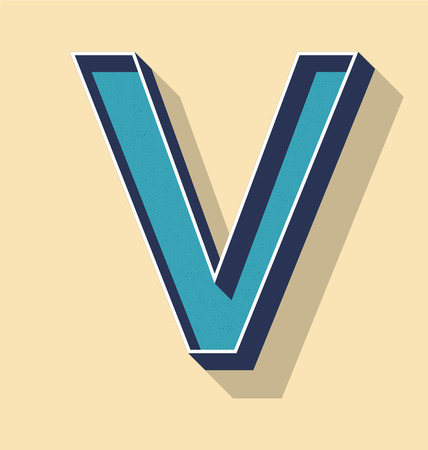 3D Letter V Retro Vector Text Style, Fonts Concept