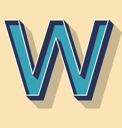 3D Letter W Retro Vector Text Style, Fonts Concept