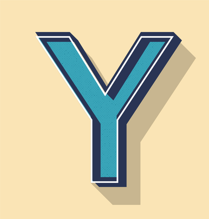 3D Letter Y Retro Vector Text Style, Fonts Concept Illustration