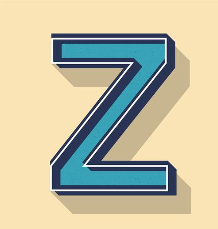 3D Letter Z Retro Vector Text Style, Fonts Concept