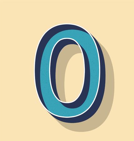 3D Letter 0 Retro Vector Text Style, Fonts Concept