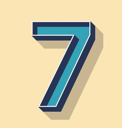 3D Letter 7 Retro Vector Text Style, Fonts Concept
