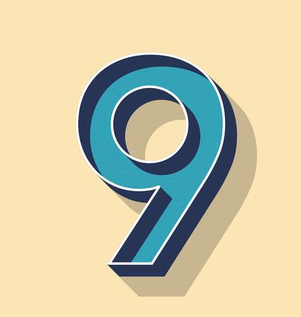 3D Letter 9 Retro Vector Text Style, Fonts Concept
