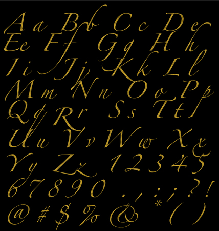 Glitter Golden Handwritten Alphabet Numbers And Signs On Dark Background, Fonts Concept.ai