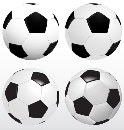 Set Of Soccer Ball, Football Isolated Vector On White Background, Sport Concept.ai