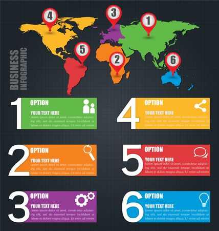 Business Vector Infographic Design Template With Six Option Numbers And World Map, Inforgraphic Concept, Credit map by NASA Ilustração