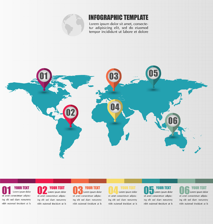 Flat World Map infographic Vector Template With Number Location Pointer Marks, Infographic Concept, Credit Map By Nasa Illustration