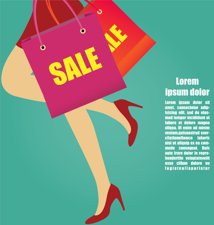 Sexy Women Legs With High Heels Running With Shopping bags, Business Concept