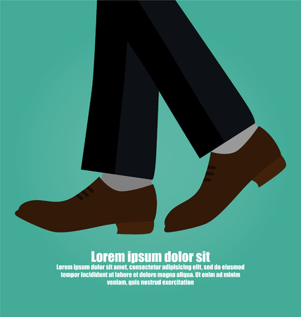 Close-up Of Business Man With Black Leather Shoes Walking Isolated On Green Background Illustration